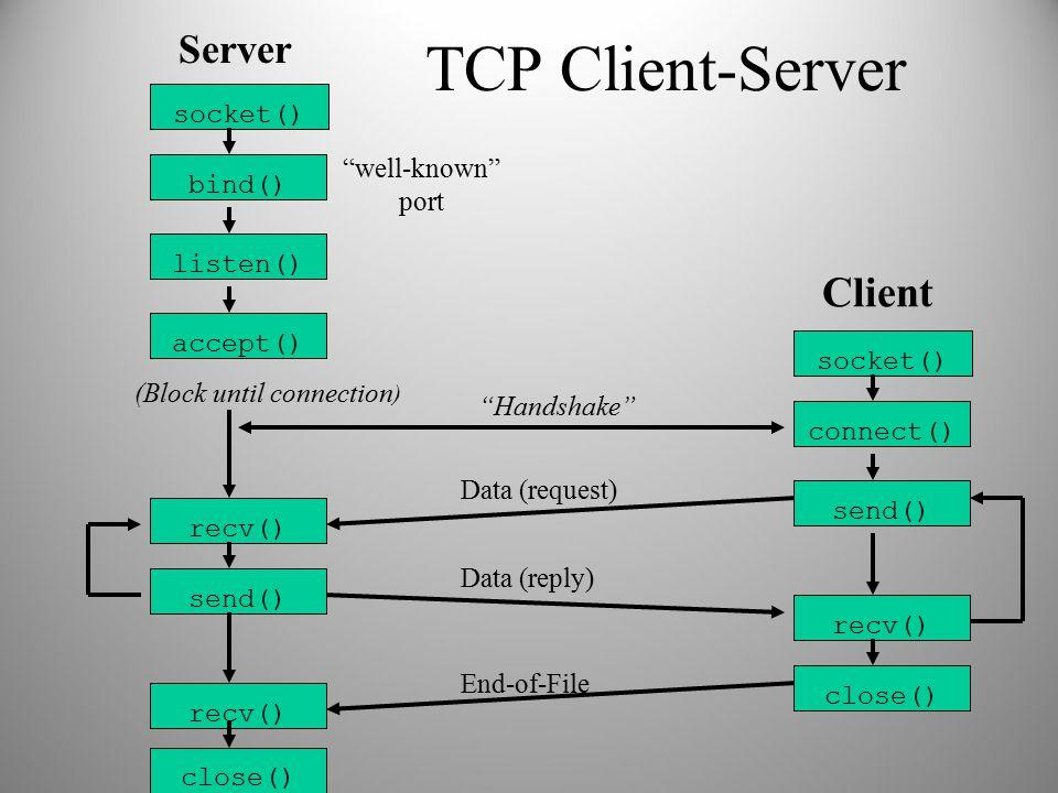 "TCP Client-Server socket() bind() listen() accept() Server socket() connect() send() recv() Client (Block until connection ) ""Handshake"" recv() send()"
