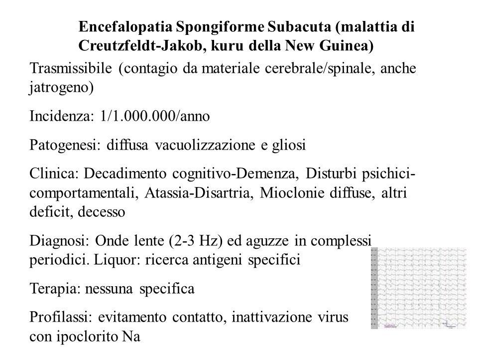 Encefalopatia Spongiforme Subacuta (malattia di Creutzfeldt-Jakob, kuru della New Guinea) Trasmissibile (contagio da materiale cerebrale/spinale, anch