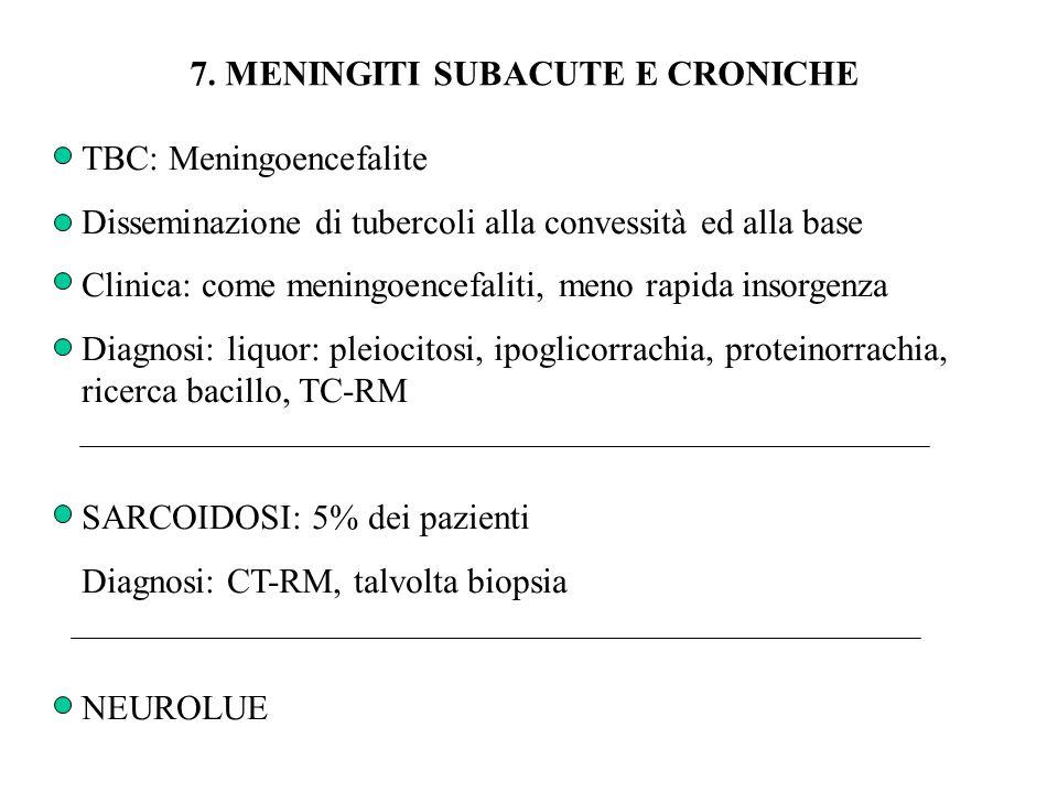 7. MENINGITI SUBACUTE E CRONICHE TBC: Meningoencefalite Disseminazione di tubercoli alla convessità ed alla base Clinica: come meningoencefaliti, meno