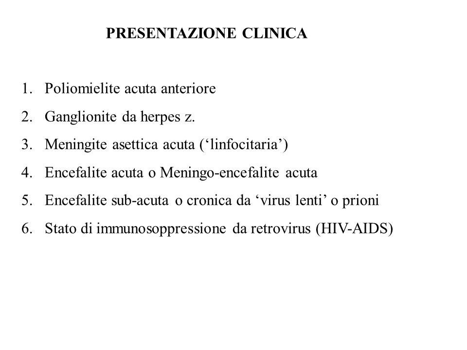 PRESENTAZIONE CLINICA 1.Poliomielite acuta anteriore 2.Ganglionite da herpes z. 3.Meningite asettica acuta ('linfocitaria') 4.Encefalite acuta o Menin