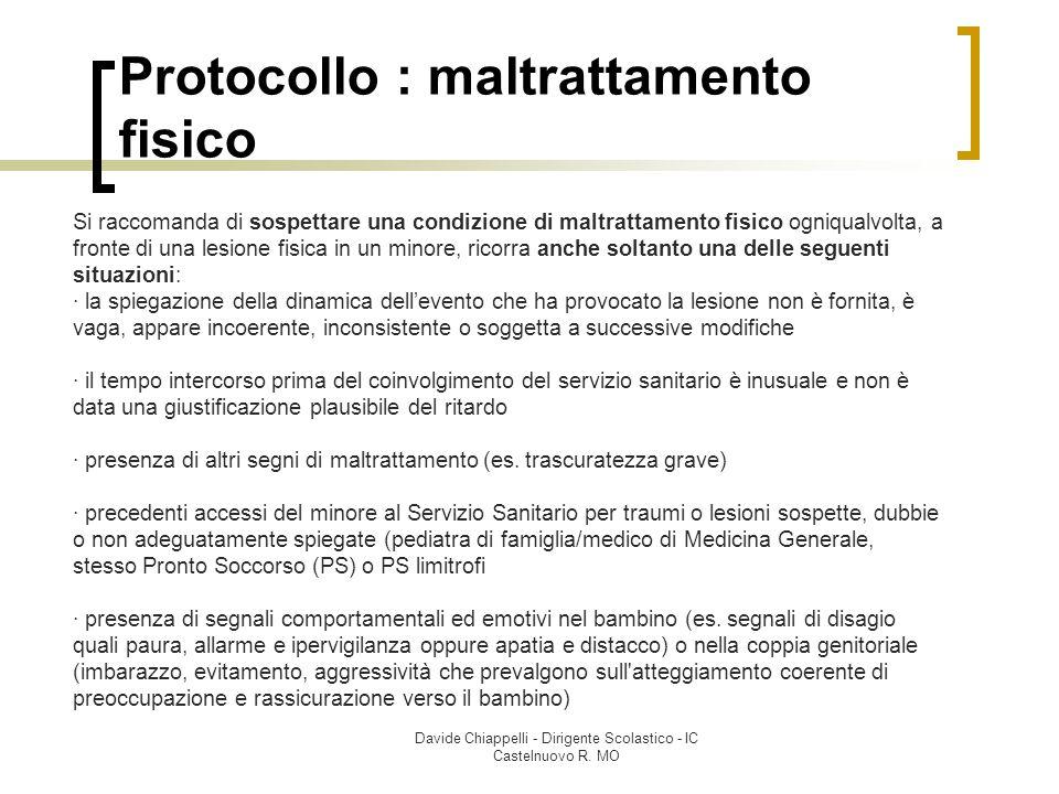 Davide Chiappelli - Dirigente Scolastico - IC Castelnuovo R. MO Protocollo : maltrattamento fisico Si raccomanda di sospettare una condizione di maltr