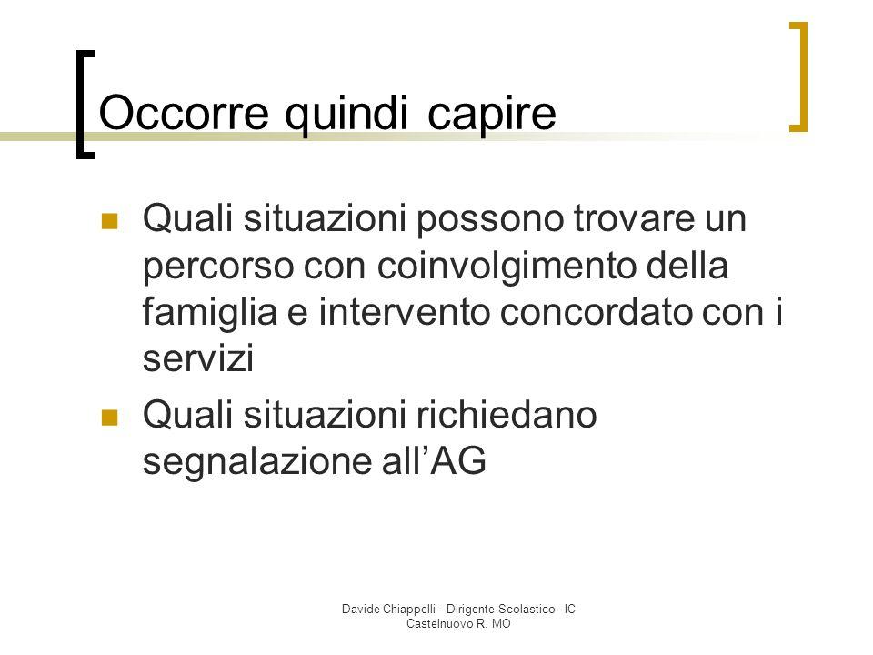 Davide Chiappelli - Dirigente Scolastico - IC Castelnuovo R. MO Occorre quindi capire Quali situazioni possono trovare un percorso con coinvolgimento