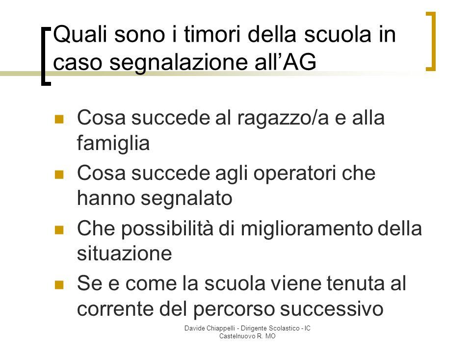 Davide Chiappelli - Dirigente Scolastico - IC Castelnuovo R. MO Quali sono i timori della scuola in caso segnalazione all'AG Cosa succede al ragazzo/a