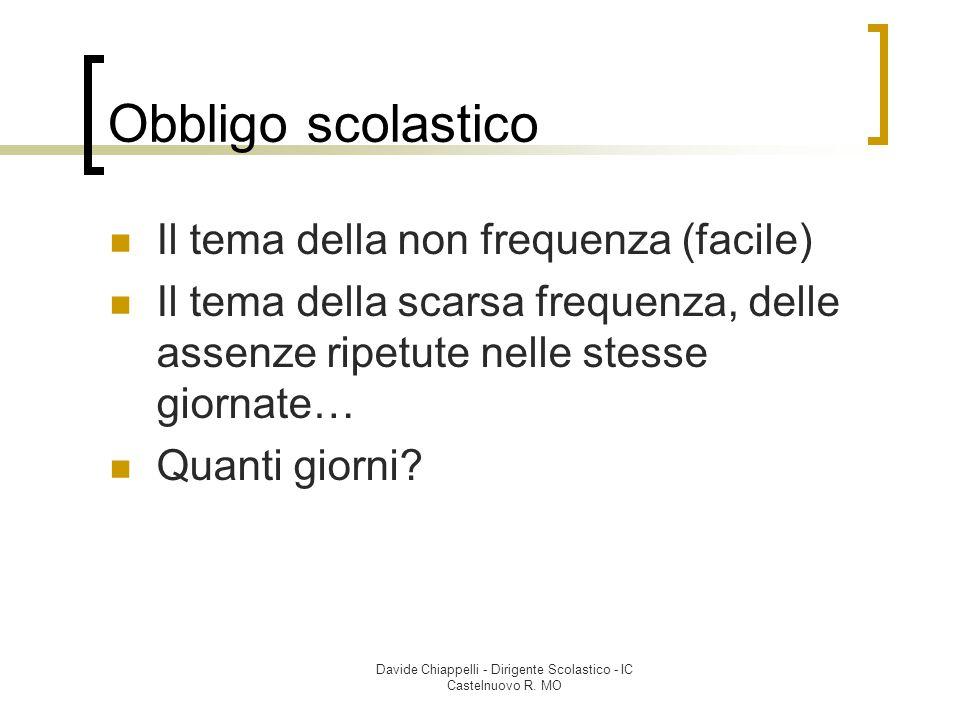 Davide Chiappelli - Dirigente Scolastico - IC Castelnuovo R. MO Obbligo scolastico Il tema della non frequenza (facile) Il tema della scarsa frequenza