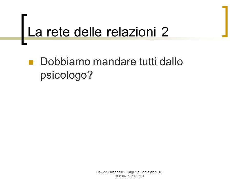 Davide Chiappelli - Dirigente Scolastico - IC Castelnuovo R. MO La rete delle relazioni 2 Dobbiamo mandare tutti dallo psicologo?