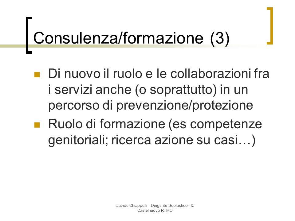 Davide Chiappelli - Dirigente Scolastico - IC Castelnuovo R. MO Consulenza/formazione (3) Di nuovo il ruolo e le collaborazioni fra i servizi anche (o