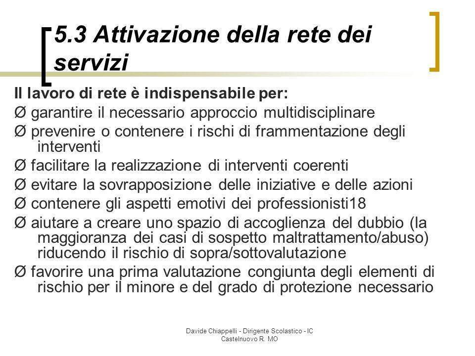 Davide Chiappelli - Dirigente Scolastico - IC Castelnuovo R. MO 5.3 Attivazione della rete dei servizi Il lavoro di rete è indispensabile per: Ø garan