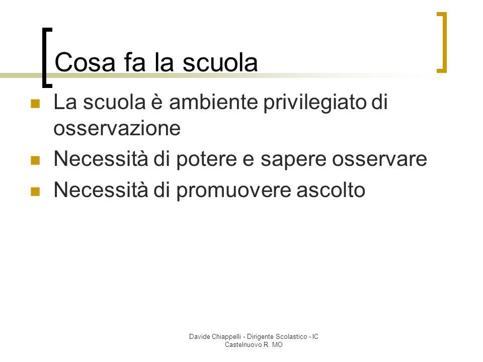 Davide Chiappelli - Dirigente Scolastico - IC Castelnuovo R. MO Cosa fa la scuola La scuola è ambiente privilegiato di osservazione Necessità di poter