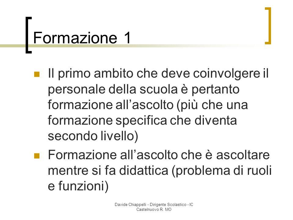 Davide Chiappelli - Dirigente Scolastico - IC Castelnuovo R. MO Formazione 1 Il primo ambito che deve coinvolgere il personale della scuola è pertanto