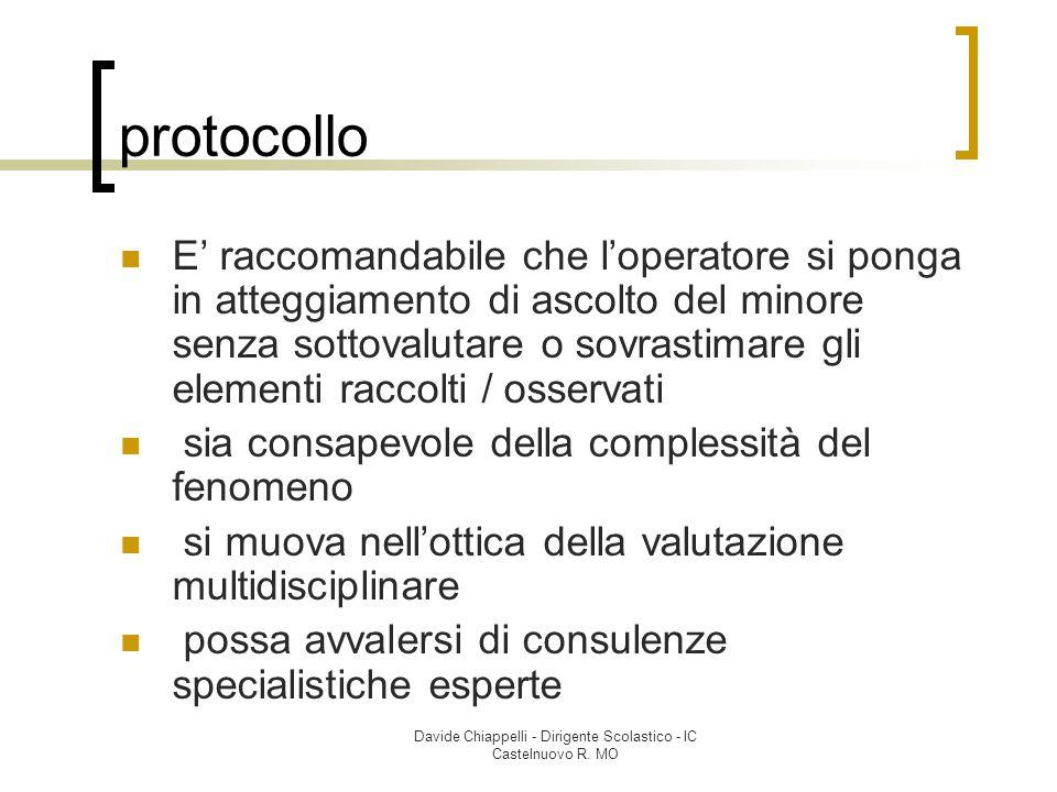 Davide Chiappelli - Dirigente Scolastico - IC Castelnuovo R. MO protocollo E' raccomandabile che l'operatore si ponga in atteggiamento di ascolto del