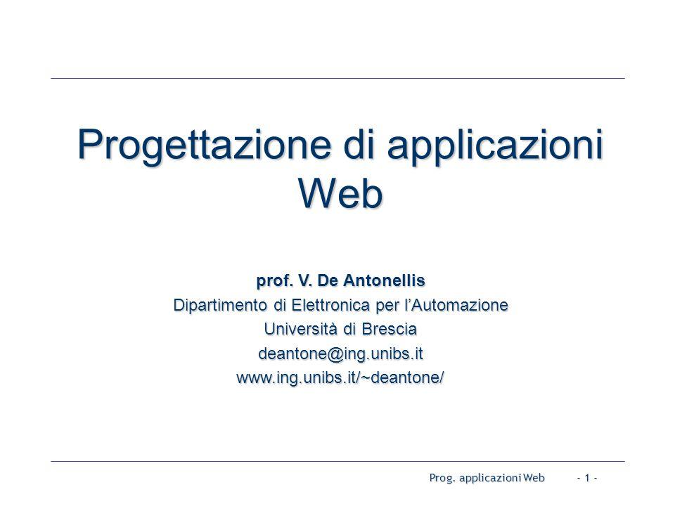 Prog. applicazioni Web- 1 - Progettazione di applicazioni Web prof.