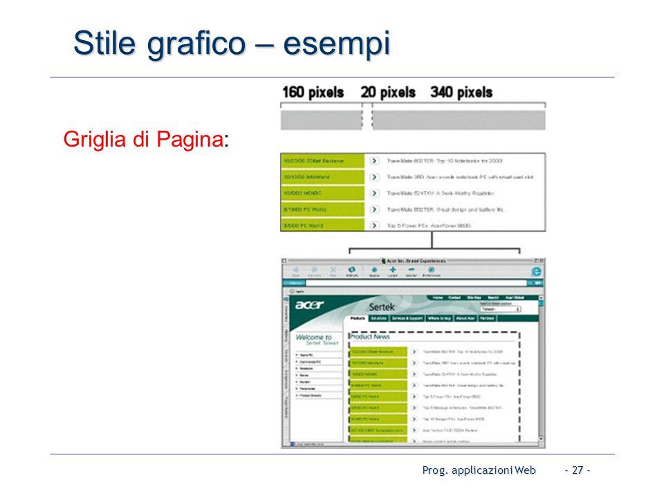 Prog. applicazioni Web- 27 - Stile grafico – esempi Griglia di Pagina: