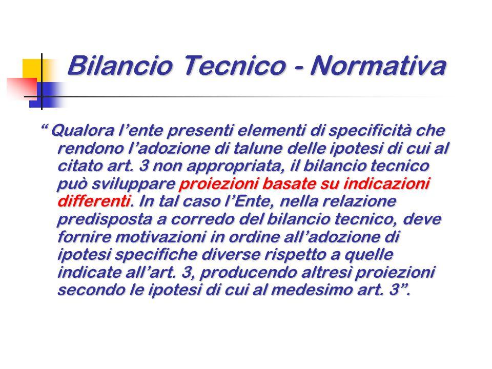 """Bilancio Tecnico - Normativa """" Qualora l'ente presenti elementi di specificità che rendono l'adozione di talune delle ipotesi di cui al citato art. 3"""