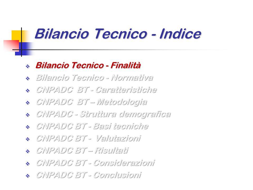 Bilancio Tecnico - Finalità Scopi principali del Bilancio Tecnico di una Cassa di Previdenza sono quelli di valutare il sistema previdenziale in termini di  sostenibilità finanziaria  adeguatezza delle prestazioni