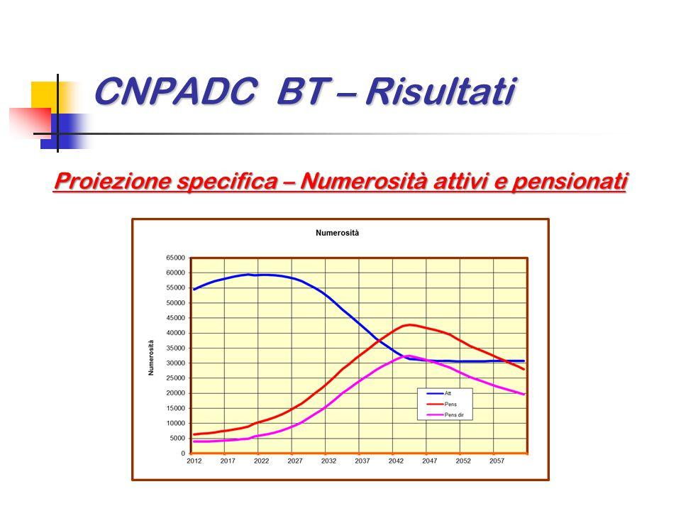 CNPADC BT – Risultati Proiezione specifica – Numerosità attivi e pensionati