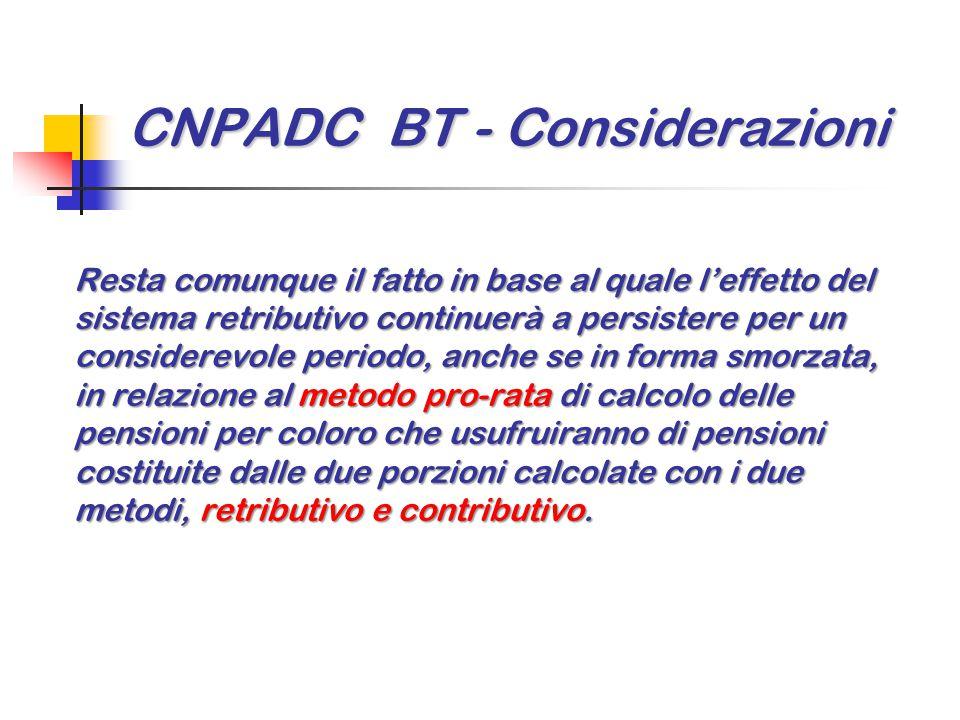 CNPADC BT - Considerazioni Resta comunque il fatto in base al quale l'effetto del sistema retributivo continuerà a persistere per un considerevole per