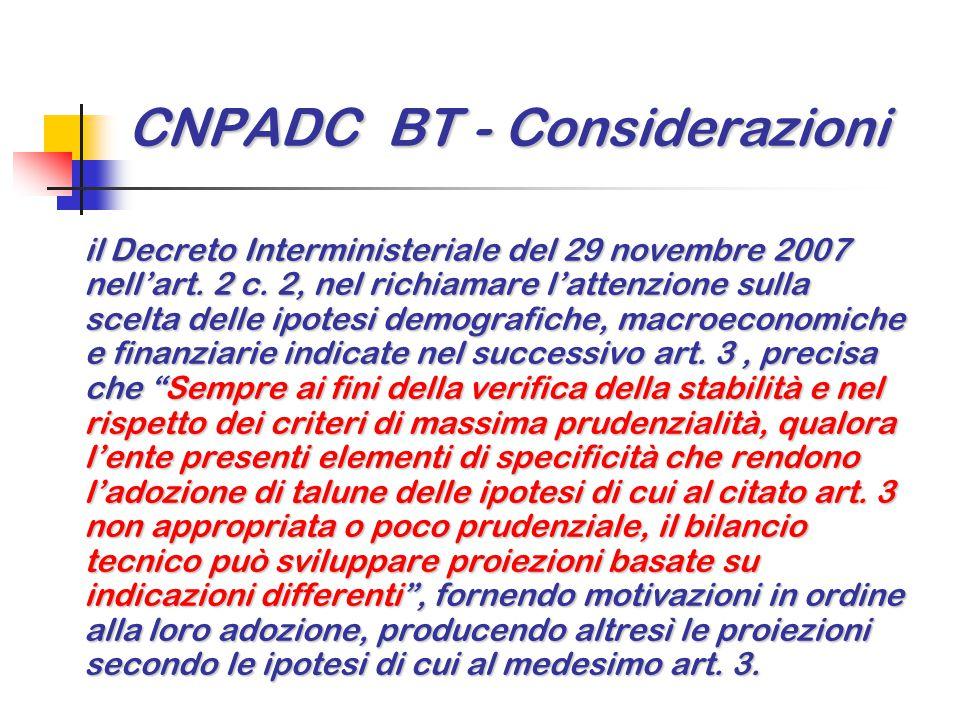 CNPADC BT - Considerazioni il Decreto Interministeriale del 29 novembre 2007 nell'art. 2 c. 2, nel richiamare l'attenzione sulla scelta delle ipotesi