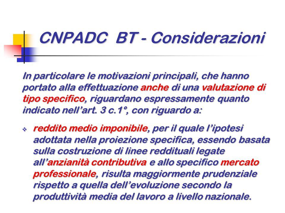 CNPADC BT - Considerazioni In particolare le motivazioni principali, che hanno portato alla effettuazione anche di una valutazione di tipo specifico,