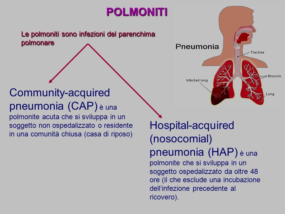 POLMONITI Community-acquired pneumonia (CAP) è una polmonite acuta che si sviluppa in un soggetto non ospedalizzato o residente in una comunità chiusa