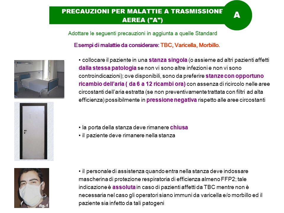 Esempi di malattie da considerare: TBC, Varicella, Morbillo. stanza singola dalla stessa patologia stanze con opportuno ricambio dell'aria ( da 6 a 12