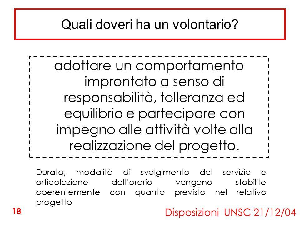 Quali doveri ha un volontario? Disposizioni UNSC 21/12/04 adottare un comportamento improntato a senso di responsabilità, tolleranza ed equilibrio e p