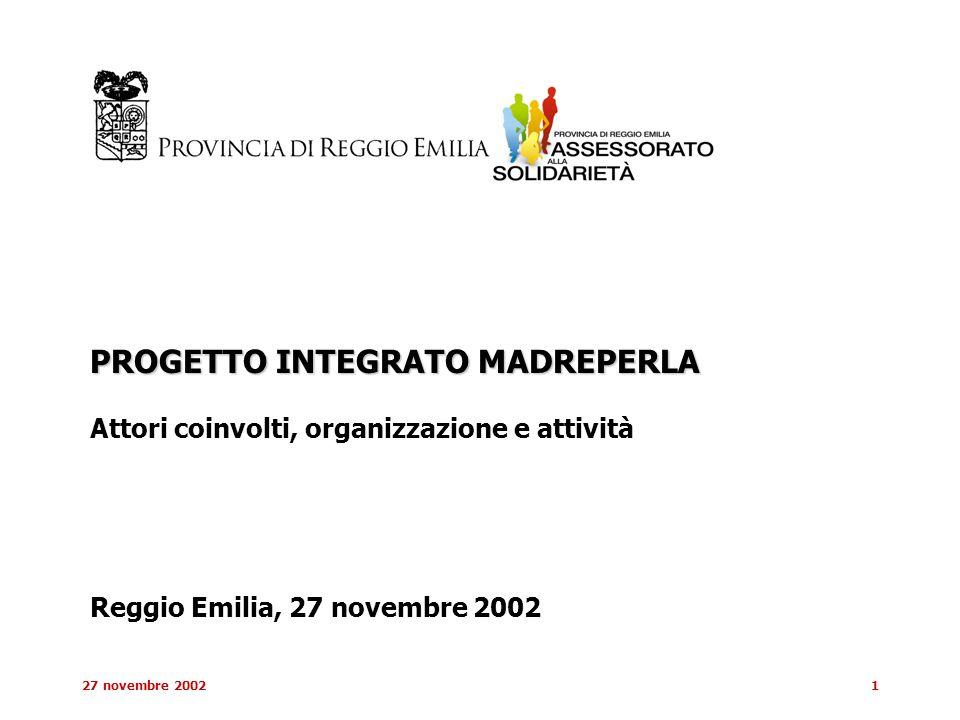 27 novembre 20021 PROGETTO INTEGRATO MADREPERLA Attori coinvolti, organizzazione e attività Reggio Emilia, 27 novembre 2002