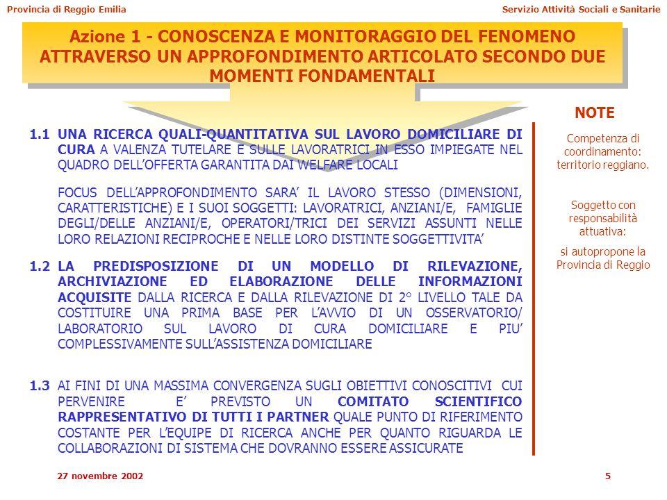 27 novembre 20025 Azione 1 - CONOSCENZA E MONITORAGGIO DEL FENOMENO ATTRAVERSO UN APPROFONDIMENTO ARTICOLATO SECONDO DUE MOMENTI FONDAMENTALI 1.1UNA RICERCA QUALI-QUANTITATIVA SUL LAVORO DOMICILIARE DI CURA A VALENZA TUTELARE E SULLE LAVORATRICI IN ESSO IMPIEGATE NEL QUADRO DELL'OFFERTA GARANTITA DAI WELFARE LOCALI FOCUS DELL'APPROFONDIMENTO SARA' IL LAVORO STESSO (DIMENSIONI, CARATTERISTICHE) E I SUOI SOGGETTI: LAVORATRICI, ANZIANI/E, FAMIGLIE DEGLI/DELLE ANZIANI/E, OPERATORI/TRICI DEI SERVIZI ASSUNTI NELLE LORO RELAZIONI RECIPROCHE E NELLE LORO DISTINTE SOGGETTIVITA' 1.2LA PREDISPOSIZIONE DI UN MODELLO DI RILEVAZIONE, ARCHIVIAZIONE ED ELABORAZIONE DELLE INFORMAZIONI ACQUISITE DALLA RICERCA E DALLA RILEVAZIONE DI 2° LIVELLO TALE DA COSTITUIRE UNA PRIMA BASE PER L'AVVIO DI UN OSSERVATORIO/ LABORATORIO SUL LAVORO DI CURA DOMICILIARE E PIU' COMPLESSIVAMENTE SULL'ASSISTENZA DOMICILIARE 1.3AI FINI DI UNA MASSIMA CONVERGENZA SUGLI OBIETTIVI CONOSCITIVI CUI PERVENIRE E' PREVISTO UN COMITATO SCIENTIFICO RAPPRESENTATIVO DI TUTTI I PARTNER QUALE PUNTO DI RIFERIMENTO COSTANTE PER L'EQUIPE DI RICERCA ANCHE PER QUANTO RIGUARDA LE COLLABORAZIONI DI SISTEMA CHE DOVRANNO ESSERE ASSICURATE Competenza di coordinamento: territorio reggiano.