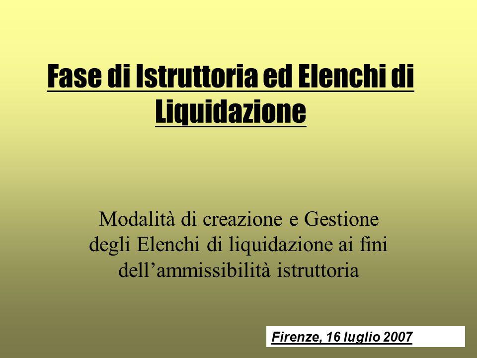 Fase di Istruttoria ed Elenchi di Liquidazione Modalità di creazione e Gestione degli Elenchi di liquidazione ai fini dell'ammissibilità istruttoria Firenze, 16 luglio 2007