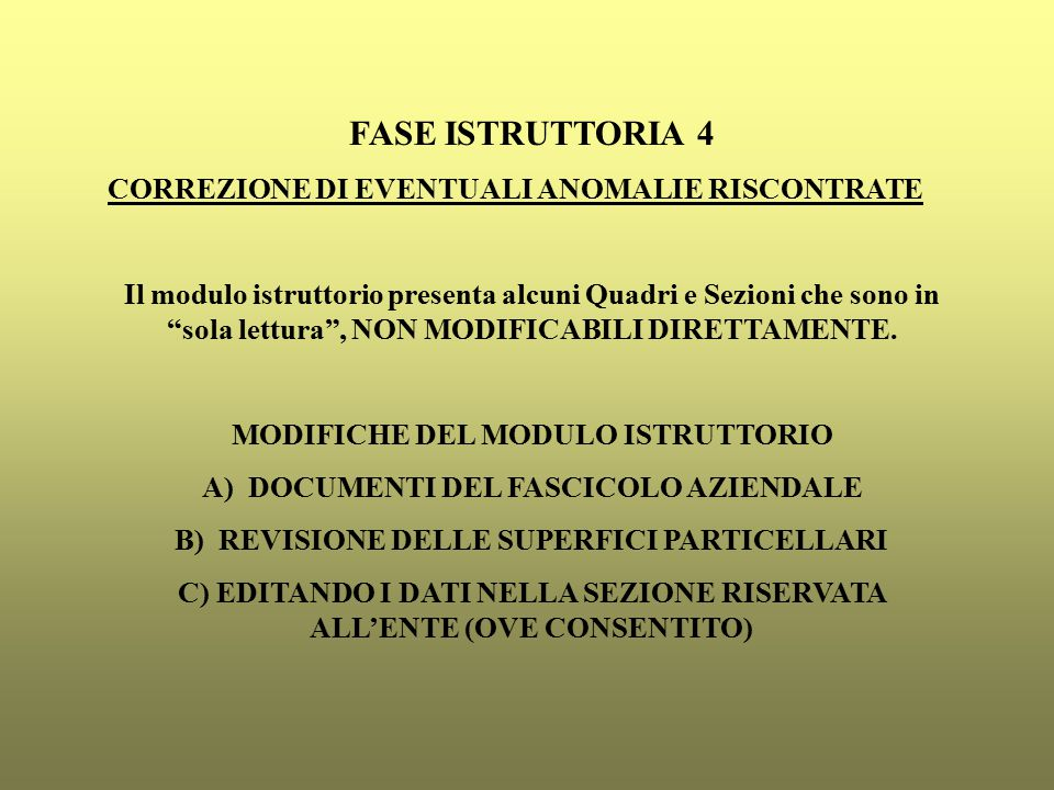 FASE ISTRUTTORIA 4 CORREZIONE DI EVENTUALI ANOMALIE RISCONTRATE Il modulo istruttorio presenta alcuni Quadri e Sezioni che sono in sola lettura , NON MODIFICABILI DIRETTAMENTE.