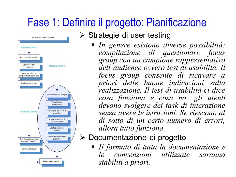 Fase 1: Definire il progetto: Pianificazione  Strategie di user testing  In genere esistono diverse possibilità: compilazione di questionari, focus