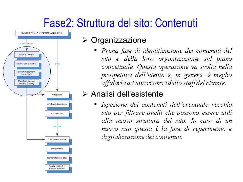 Fase2: Struttura del sito: Contenuti  Organizzazione  Prima fase di identificazione dei contenuti del sito e della loro organizzazione sul piano con