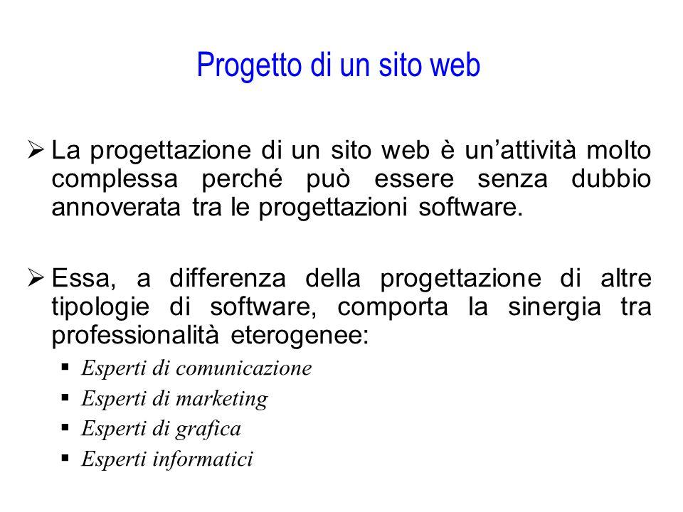 Progetto di un sito web  La progettazione di un sito web è un'attività molto complessa perché può essere senza dubbio annoverata tra le progettazioni