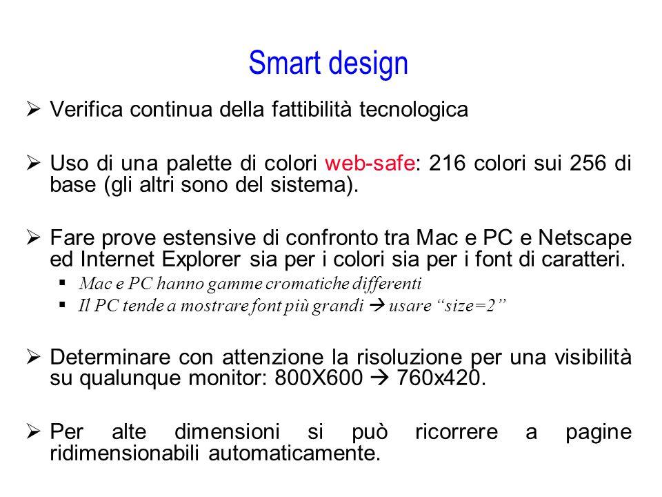 Smart design  Verifica continua della fattibilità tecnologica  Uso di una palette di colori web-safe: 216 colori sui 256 di base (gli altri sono del