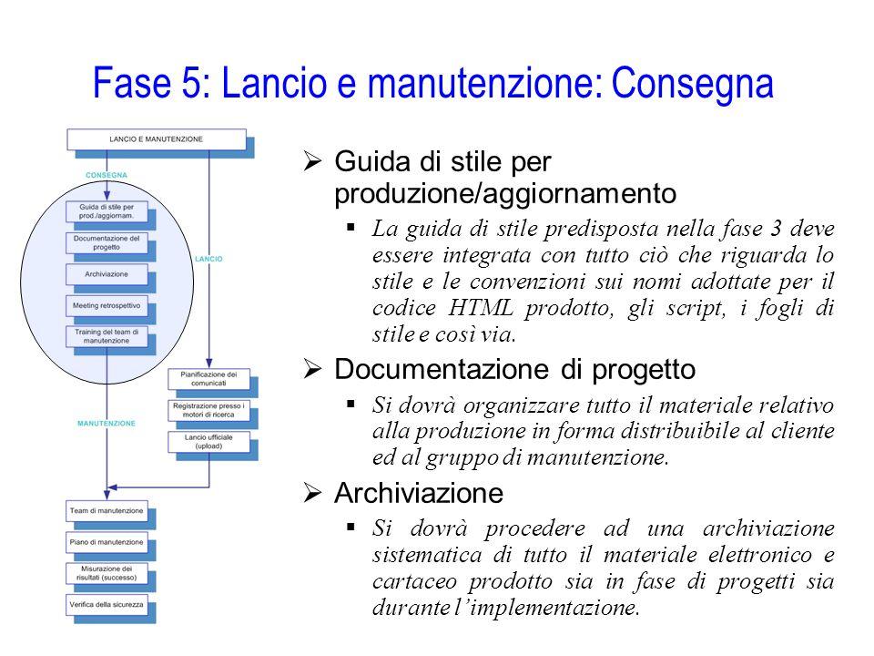 Fase 5: Lancio e manutenzione: Consegna  Guida di stile per produzione/aggiornamento  La guida di stile predisposta nella fase 3 deve essere integra