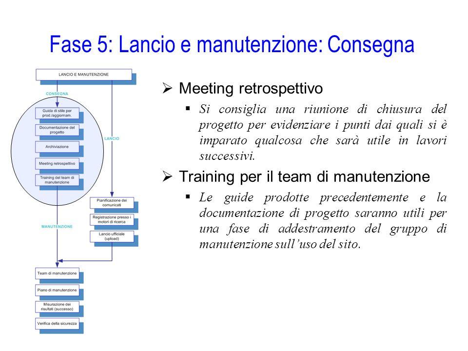 Fase 5: Lancio e manutenzione: Consegna  Meeting retrospettivo  Si consiglia una riunione di chiusura del progetto per evidenziare i punti dai quali
