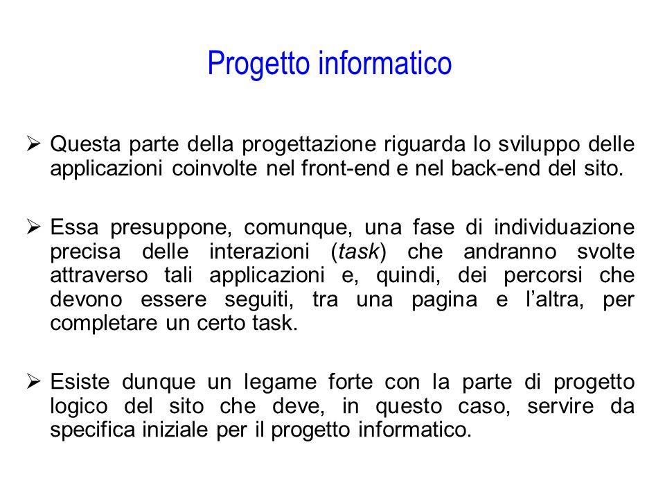 Progetto informatico  Questa parte della progettazione riguarda lo sviluppo delle applicazioni coinvolte nel front-end e nel back-end del sito.  Ess