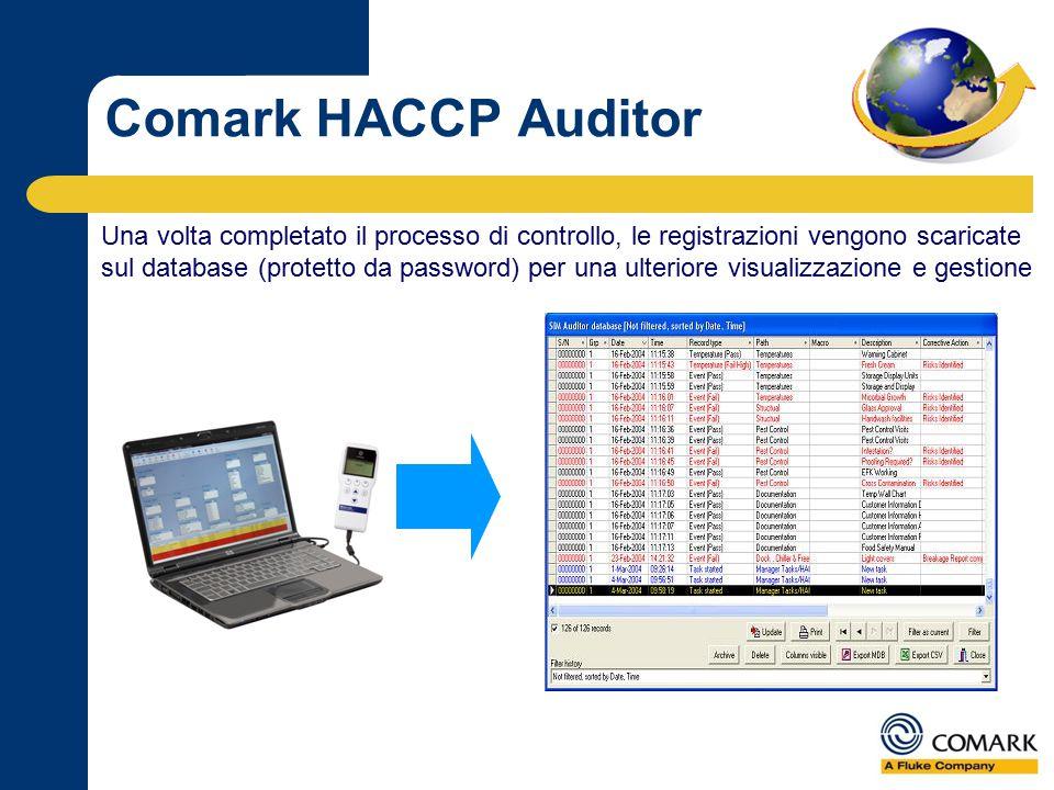 Una volta completato il processo di controllo, le registrazioni vengono scaricate sul database (protetto da password) per una ulteriore visualizzazione e gestione Comark HACCP Auditor