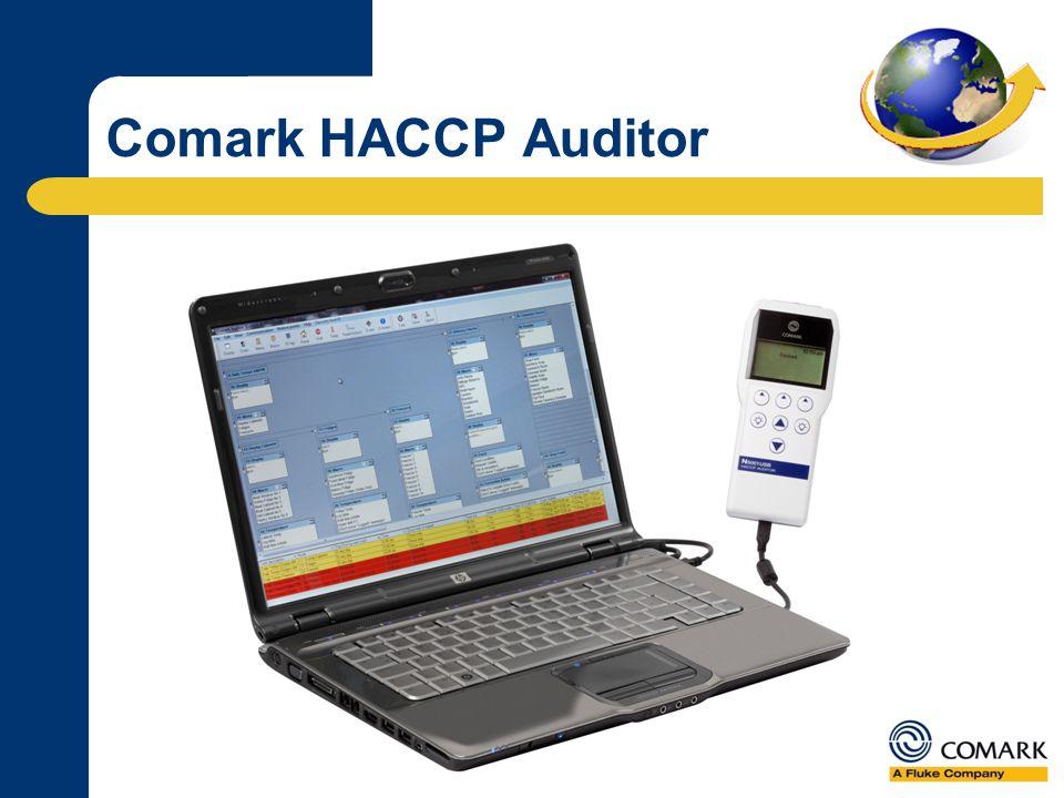 Gestione dati e monitoraggio Converte il tuo piano HACCP e le tue procedure operative in un programma su misura Raccoglie tutti i dati critici e li scarica a fine giornata Comark HACCP Auditor N5001
