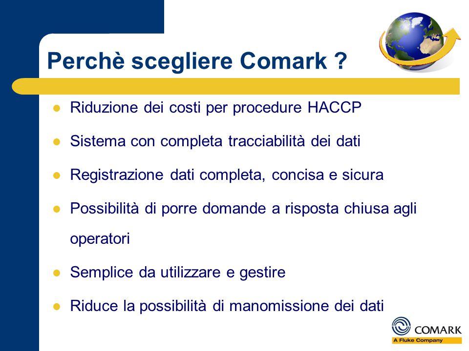 Perchè scegliere Comark ? Riduzione dei costi per procedure HACCP Sistema con completa tracciabilità dei dati Registrazione dati completa, concisa e s