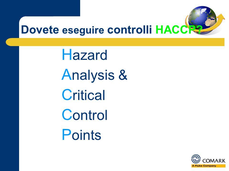 Dovete eseguire controlli HACCP H azard A nalysis & C ritical C ontrol P oints
