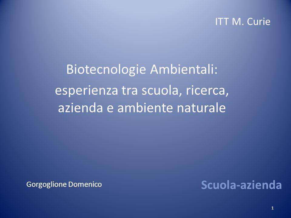 1 Scuola-azienda Biotecnologie Ambientali: esperienza tra scuola, ricerca, azienda e ambiente naturale ITT M.