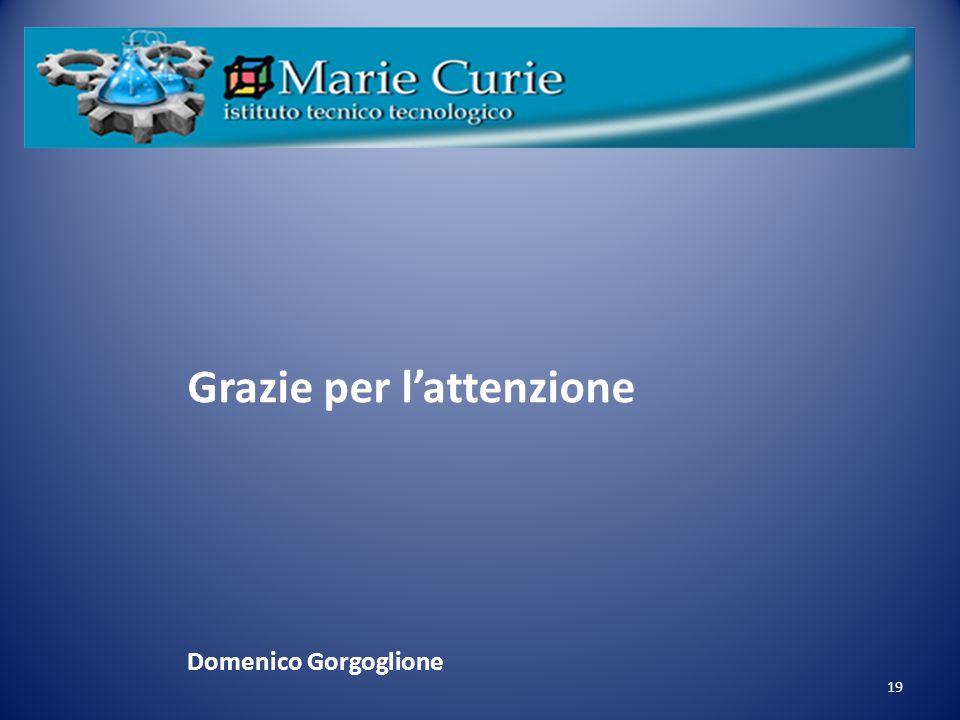 19 Grazie per l'attenzione Domenico Gorgoglione