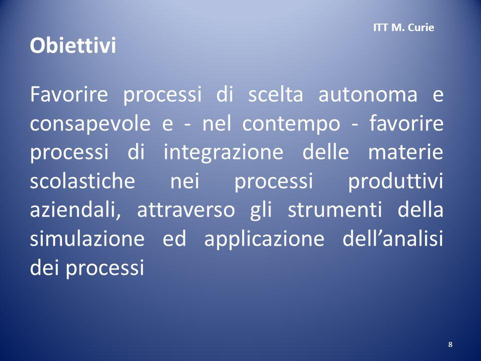 8 Favorire processi di scelta autonoma e consapevole e - nel contempo - favorire processi di integrazione delle materie scolastiche nei processi produttivi aziendali, attraverso gli strumenti della simulazione ed applicazione dell'analisi dei processi ITT M.