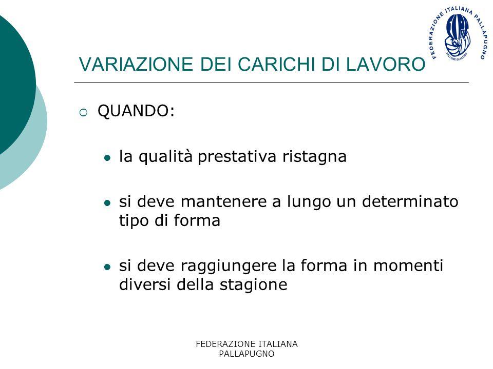 FEDERAZIONE ITALIANA PALLAPUGNO VARIAZIONE DEI CARICHI DI LAVORO  QUANDO: la qualità prestativa ristagna si deve mantenere a lungo un determinato tip