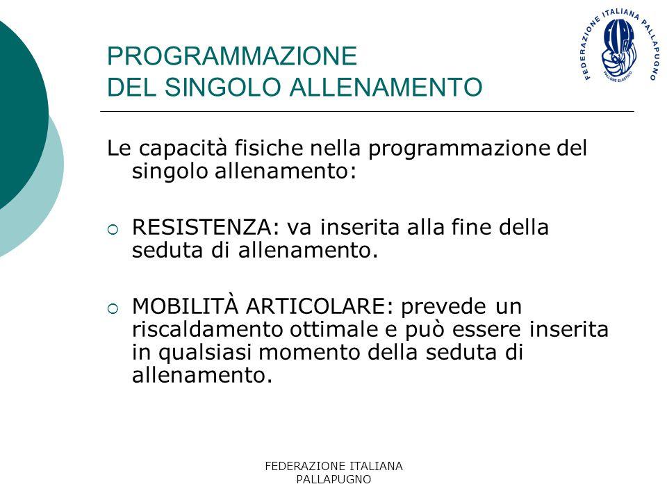FEDERAZIONE ITALIANA PALLAPUGNO PROGRAMMAZIONE DEL SINGOLO ALLENAMENTO Le capacità fisiche nella programmazione del singolo allenamento:  RESISTENZA: