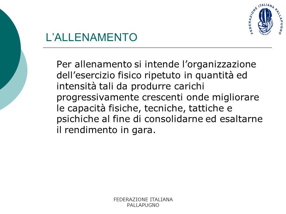 FEDERAZIONE ITALIANA PALLAPUGNO L'ALLENAMENTO Per allenamento si intende l'organizzazione dell'esercizio fisico ripetuto in quantità ed intensità tali