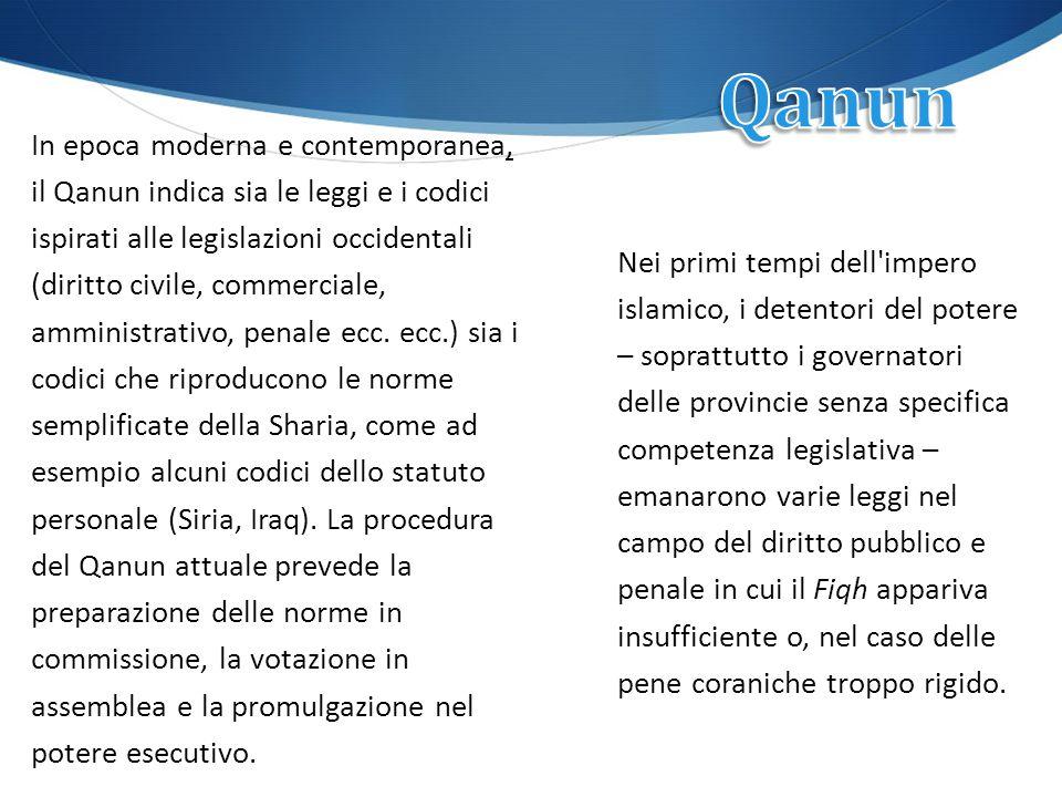 In epoca moderna e contemporanea, il Qanun indica sia le leggi e i codici ispirati alle legislazioni occidentali (diritto civile, commerciale, amminis