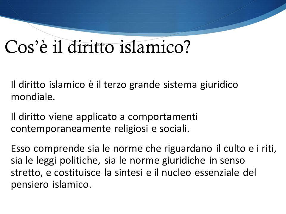 Cos'è il diritto islamico? Il diritto islamico è il terzo grande sistema giuridico mondiale. Il diritto viene applicato a comportamenti contemporaneam