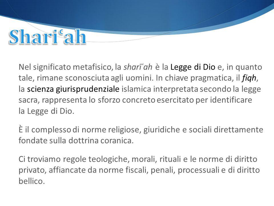 Nel significato metafisico, la sharīʿah è la Legge di Dio e, in quanto tale, rimane sconosciuta agli uomini. In chiave pragmatica, il fiqh, la scienza