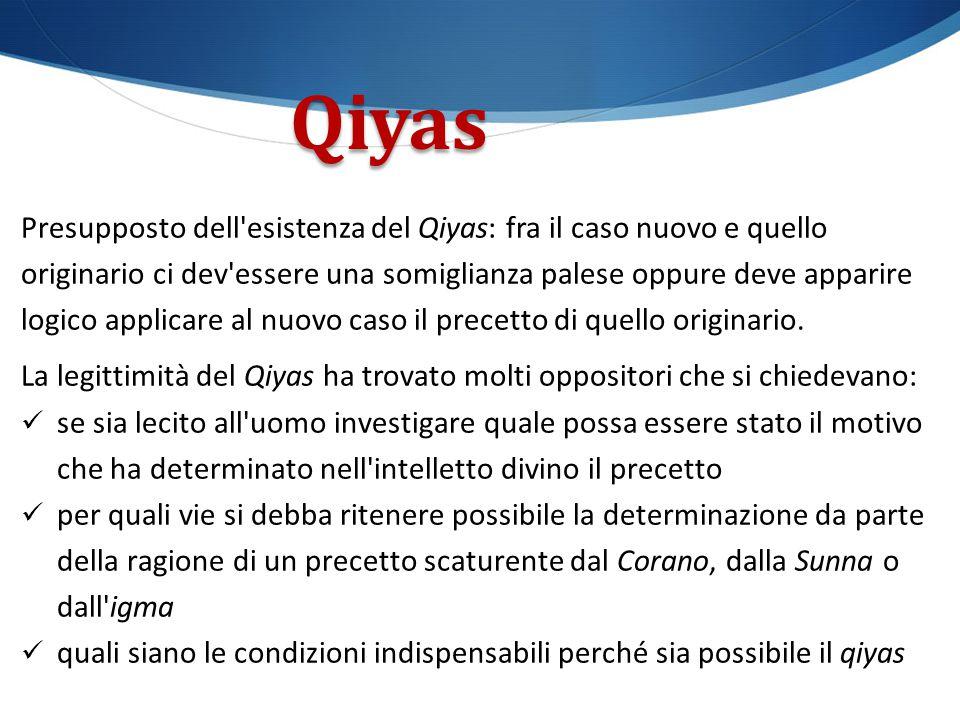 Presupposto dell'esistenza del Qiyas: fra il caso nuovo e quello originario ci dev'essere una somiglianza palese oppure deve apparire logico applicare